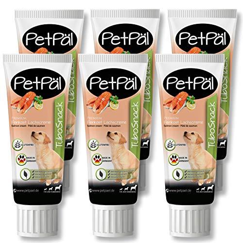 """PetPäl Hunde Lachscreme in der Tube Leckerli """"TuboSnack"""" – 6er Pack - Premium Leckerlie getreidefrei für den Hund - Auch für Welpen - Natürlicher Hundeleckerli Snack - Made in Germany"""