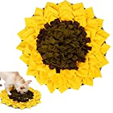 Dog Snuffle Mat,Pet Feeding Mat Dog Training Pad Sniffing Mat,Encourages Natural Foraging Skills for Stress Release (Yellow Flower)