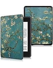 KOMI Etui ochronne ze skóry PU kompatybilne z czytnikiem e-booków Kindle Paperwhite 4 (wersja 10. generacji, wersja 2018), osłona ochronna ebooka (kwiat)