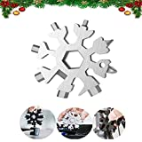 Snowflake Multitool, 1 Piece 18-in-1 Stainless Steel Snowflake Standard Multitool, Snowflake Wrench with Key Ring, Great for men Christmas Gift (1, Silver)