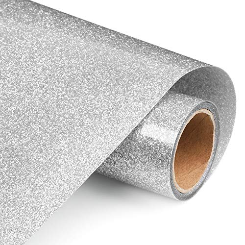 Glitter Heat Transfer Vinyl Rolls 12x60 Inch, Iron on Vinyl for Shirts Clothing by TransWonder (Silver)