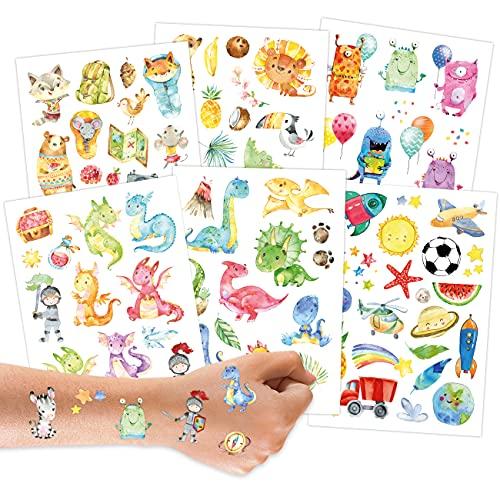 100 Tattoos zum Aufkleben - Kindertattoos mit Dinosauriern, Monstern, Drachen, Waldtieren und weiteren kindgerechten Designs - als Geburtstagsmitgebsel oder Geschenkidee