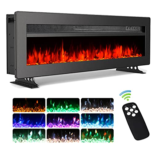 INMOZATA 40inch Electric Fire Insert Wall Mounted Free Standing with LED Flame Effect, Remote & Touch Control, Adjustable Thermostat and 2 Heat Settings 900 1800 W, Timer, Dimmer(40  , Black)