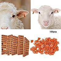 100個 耳タグ 家畜 耳タグ 家畜識別 耳番号 牛 羊 豚などの家畜に 耐久性プラスチック素材 明るい色(オレンジ)