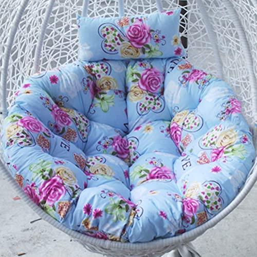 DIELUNY Cojín redondo para silla, columpio para colgar cojines acolchados para silla de un solo balcón, ratán y mimbre, alfombrilla trasera con cremallera, lavable, 105 x 105 cm