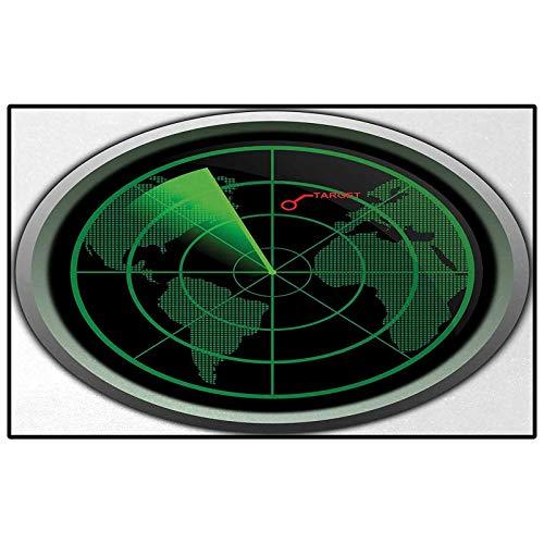 Kids Rugs for Girls Rooms Rugs for Kitchen Floor Airplane,Military Radar Screen Global Defense Danger Detecter Scanner Signal System Print,Green Black Childs for Kids, Elders, and Dogs