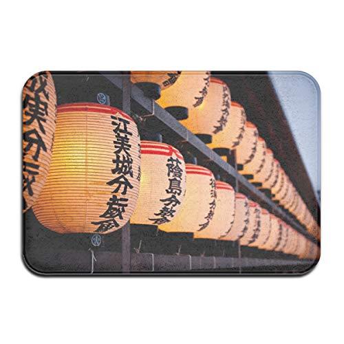 TTYIY Japanse Lantaarn Lamp Licht Aziatische Oosterse Bokeh Heavy Duty Welkom Ingang Deur Mat, Niet Slip Backing 40 x 60cm