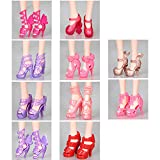 Youthful 10 Pairs Shoes for Barbie Dolls, Barbie Doll Shoes Set Different Assorted Colors High Heeled Shoes Sandals Boots Flat Shoes Accessories for Barbie Dolls Playset Girls' Birthday Gift (#2)