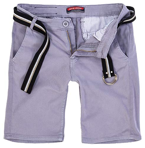Rock Creek Herren Chino Shorts Hose Kurz Chinoshorts Inkl Gürtel Männer Sommer Bermuda Stretch Rc-2133 32 Grau