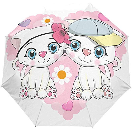 Happy Valentine 's Cute Cat Animal Auto Open Umbrella Zonneregenparaplu Anti-UV Opvouwbaar automatische paraplu