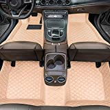 Alfombrillas de Coche para BMW X6 F16 2015-2018 Antideslizantes Impermeable Rodeado Completo Protección para Todo Clima Revestimientos De Alfombra De Cuero Alfombrilla (Beige)