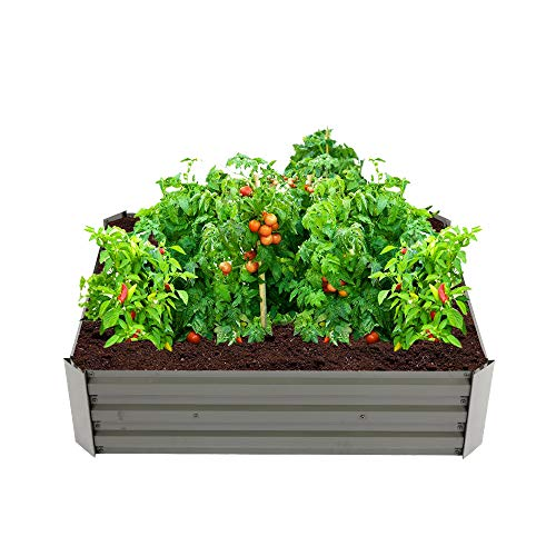 Kcelarec Garden Planting Bed Iron Planter Box Anti-Rust Coating Planting Vegetables Herbs and Flowers for Outdoor Use (Coffee)