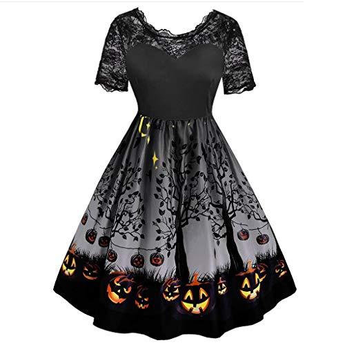 Halloween Kleid Damen Schöne Spitzekleid,V-Ausschnitt Kleid Kürbis Drucken,Vintage Retro Party Kleid,Schwingen Kleid Faltenrock,Abendkleider Knielang URIBAKY