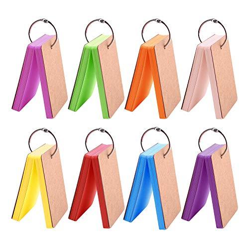 TUPARKA 400 Stück Papier Lernkarten, Multicolor Kraftpapier Notizblöcke mit Metallbinder Ring Easy Flip Flash Note Cards (8 Satz 50 Blatt pro Satz)