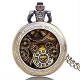 KaiKai Reloj de Bolsillo de Bolsillo watchAntique Bronce Colgante Estilo Retro del Engranaje pequeño Collar de Regalo de Steampunk Cuarzo de Regalos de los Hombres de Relojes (Color : Style 1)