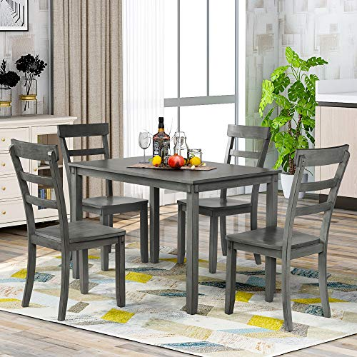Merax Dining Table Set for 4, 5 Piece Vintage Rectangular Counter Height Bar Table with 4 Chairs, Wood Dining Table and Chair Set for Dining Room, Pub and Bistro