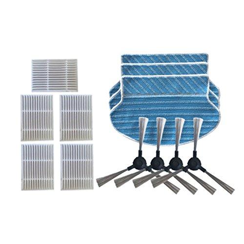 Meijunter 5*Hepa Filter+3*Reinigung Mopp Tuch+4*Seitenbürste für Proscenic Intelligenter Roboter Staubsauger P1 P2 P3 MC70,Ersatz Reiniger Kit
