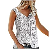 aihihe Womens Plus Size Tank Tops Sleeveless T Shirts Top Blouse Tunic Floral Print Summer Casual Flowy Tanks S-7Xl White