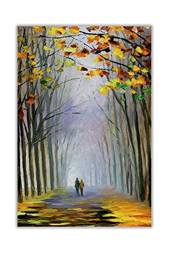 Leonid Afremov Autumn Fog Ölgemälde, Nachdruck, abstraktes Poster Art Wanddekoration, Glänzendes Papier, 02- A2 = 42cm x 59.4cm