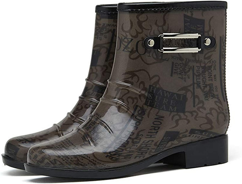 Giow Men'S Rain Boots, Short Low Heel Waterproof Boots Plastic Wear-Resistant Anti-Slip
