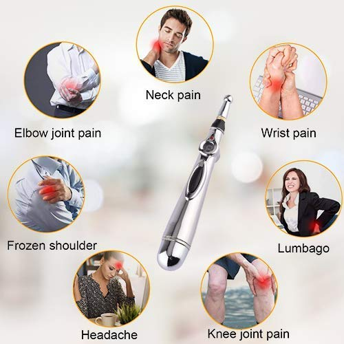 PAINSLAYER Acupuncture Pen with 5 Massage Heads Plus Massage Therapy Machine Function Energy Pain Therapy Relief, Electric Acupuncture Pen,Electro Acupuncture,2 Devices in ONE Box
