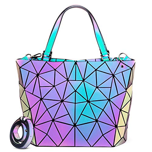 [$33.14] Geometric Luminous Purses and Handbags for Women Holographic Reflective Bag Backpack Wallet Clutch Set