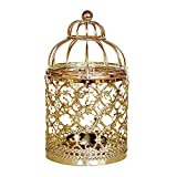Gotian Hanging Hollow Out Iron Birdcage Candlestick Table Candle Holder Centerpiece Decorative Hollow Parties Wedding Shop Hotel Decoration (Gold)