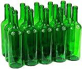 Bouteille de vin 750ml sans/avec bouchon Bouteille en verre Bouteille vide pour vin, liqueur, 3couleurs, vert, 8 Stk. ohne Korken