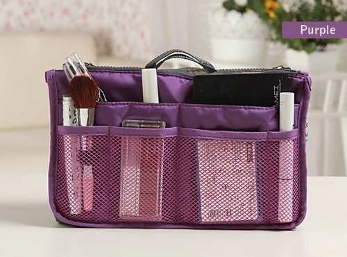 Purse Organizer Insert Multi-function Cosmetic Storage Bag in Bag(09 Purple) by GorgeousCC