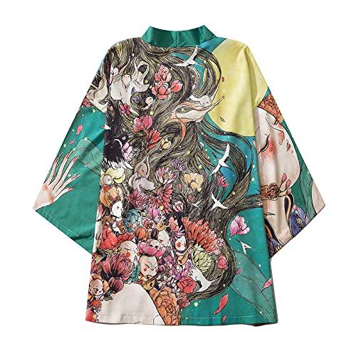 Kimono Japón para hombre, chaqueta Haori, manga 3/4, holgada, japonesa, Hanfu Tang traje camisa abrigo abrigo, verde-M