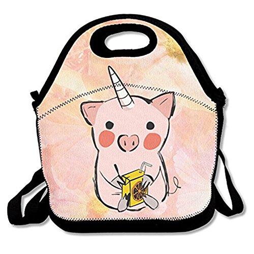 ZMvise Be Unicorn Sac à déjeuner isotherme réutilisable Motif cochon majestueux Pour hommes, femmes, adultes, enfants, tout-petits infirmières