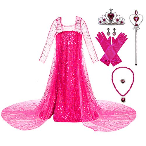 Wocau Girls Luxury Sequin Princess Party Dress Costumes with Shining Long Cap (4T, Pink with Accessories)