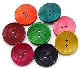 sadingo Madera Botones–50Unidades–3cm–Bunter Mix–Rojo Verde Amarillo Azul Rosa–Grandes Botones Set para costura y manualidades
