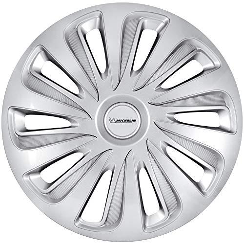 MICHELIN 41019 Radzierblende Celine 4er Set Universal Radkappen Fürs Auto Aus Kunststoff | Silber | 17 Zoll