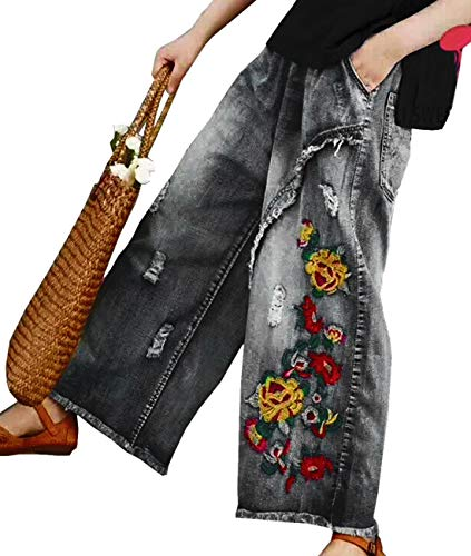 YESNO PW2 Women Casual Cropped Pants Loose Floral Jeans Ripped Embroidered Wide Leg (XL, PW2 Black)