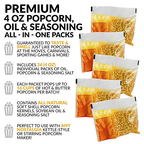 Product Image 5: Nostalgia KPP424 Best Tasting Premium 4-Ounce Popcorn, Oil & Seasoning Salt All-In-One Packs – 24 Count