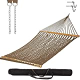 Castaway Living 13 ft. Double Traditional Hand Woven Antique Brown Polyester Rope Hammock with Free Extension Chains ,Tree Hooks & Storage Bag, for 2 People with a Weight Capacity of 450 lbs.