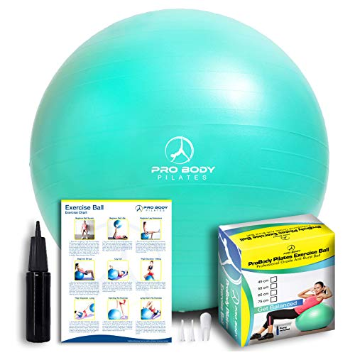ProBody Pilates Exercise Ball - Professional Grade Anti-Burst Fitness, Balance Ball for Yoga, Birthing, Stability Gym Workout Training and Physical Therapy - Work Out Guide Included (Aqua, 65 cm)