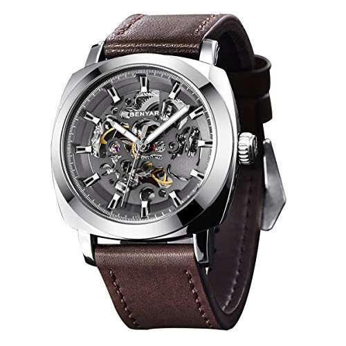 BENYAR - Reloj de Pulsera automático para Hombre | Pulsera de Cuero | Movimiento Dorado | Dial Esqueleto de 45 mm |...