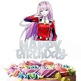 Zero Two Cake Topper - Anime Theme Happy Birthday Party ACG Kids Boy girl Party decoration