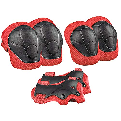 MIUYQ Kids Knee Pads Set 6 in 1, Elbow Knee Pads Adjustable Guards Protective Gear Set for Toddler Children for Skateboard Skating Bike Cycling Scooter Outdoor Activities Red