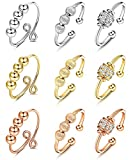 IRONBOX 9Pcs Anxiety Ring with Beads Adjustable Gold Silver Thumb Anxiety Rings Pack for Women Men Fidget Spinner Bead Rings for Anxiety