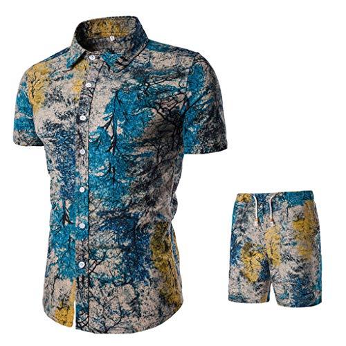 Cardith 2 Stück Baumwolle Leinen Outfits Männer Sommer Sets Strandhemd Shorts Afrikanischer Blumendruck