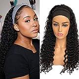 Headband Human Hair Wig Headband Half Wigs Human Hair 10A Brazilian Glueless Human Hair Wigs None Lace Front Wigs Deep Wave 150% Density 20 Inch Natural Color