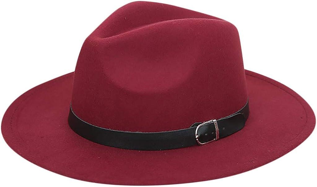 XUETON Wide Brim Fedora Panama Hat for Women Party Cap Belt Buckle Wool Hat Jazz Cowboy Straw Beach Hat