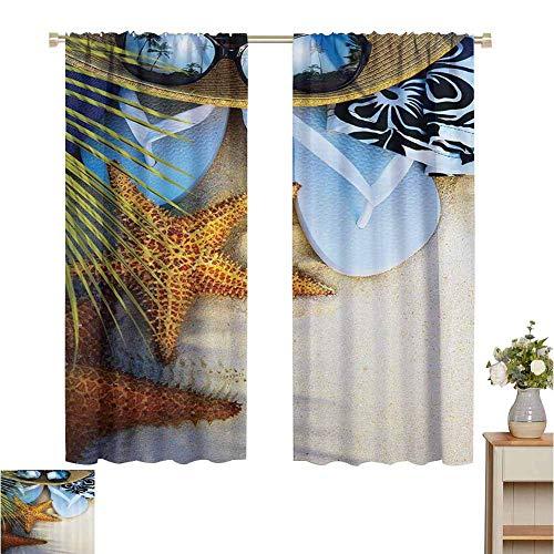 Tringle Pocket Rideaux Beach Hawaiian, Dream on the Beach Seashell Starfish Sea Star Sunglasses Flip Flop Pantoufles et un chapeau avec des palmiers exotiques, vert bleu brun gris, assombrissement et