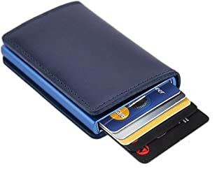 Dlife Credit Card Holder RFID Blocking Wallet Slim Wallet Cowhide Leather Vintage Aluminum Business Card Holder Automatic Pop-up Card Case Wallet Security Travel Wallet (Blue Case)
