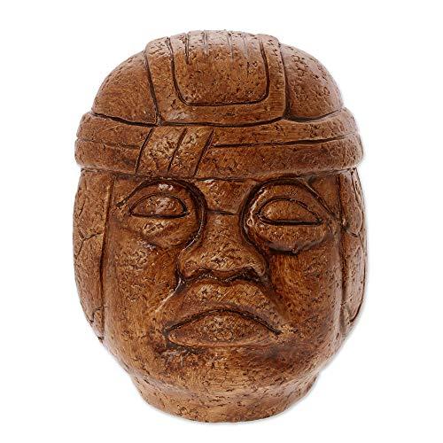 NOVICA Metallic Archaeological Stucco On Ceramic Sculpture, 7.5' Tall, Olmec Head'