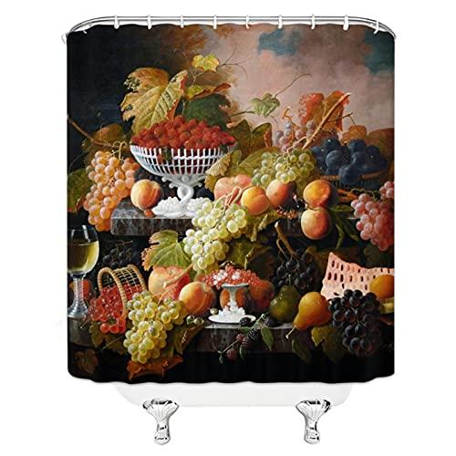 Tiiiytu Obst Duschvorhänge Apfel Erdbeere Wassermelone Zitrone Ananas Traube Wasserdicht Polyester Stoff Badezimmer Dekor Gedruckt -72 X 72 Zoll