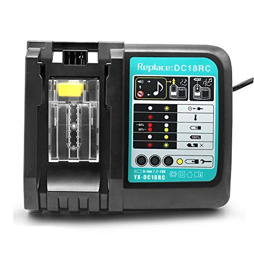 VANTTECH 3A DC18RC - Cargador de iones de litio para Makita 14,4 V ~ 18 V BL1830 BL1840 BL1850 BL1815 BL1430 LXT400 EU